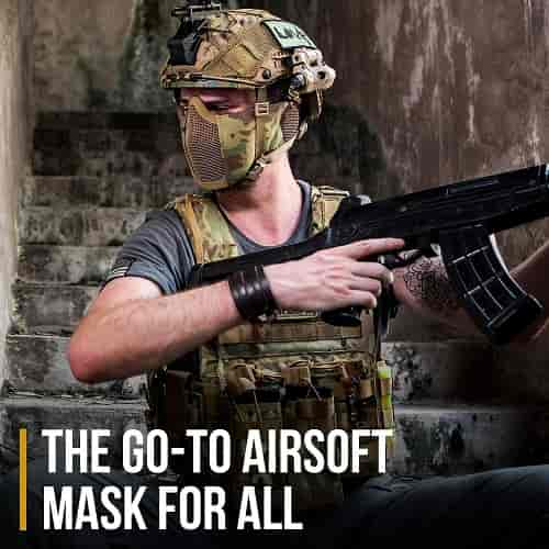OneTigris 6 Foldable Half Face Airsoft Mesh Mask with Ear Protection, Military Tactical Lower Face Protective Mask