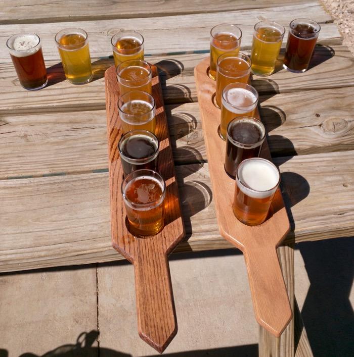 tasting flight at big bend brewery