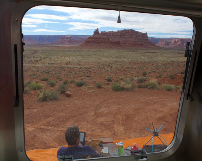 view from airstream of valley of the gods utah