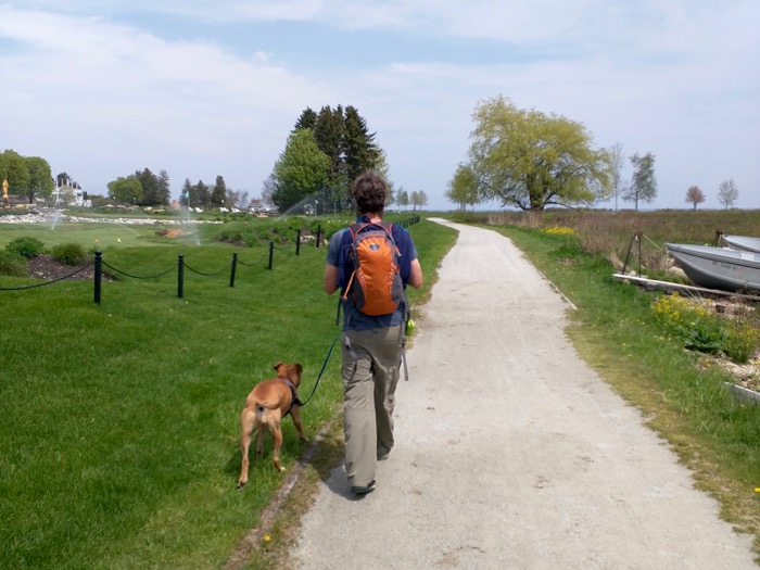walking the dog by mission point mackinac island
