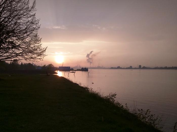sault ste marie river sunset
