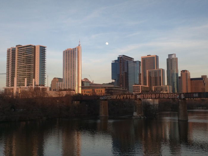 austin skyline at sunset