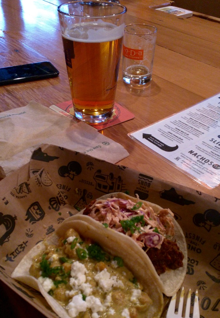 chana masala taco at noda brewing