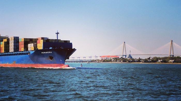 container ship and cooper river bridge