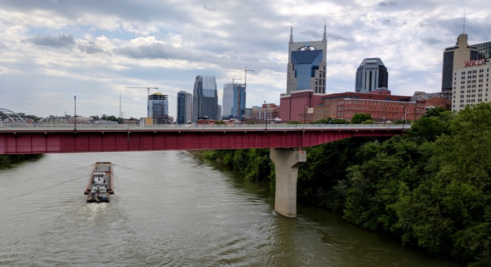 Nashville downtown skyline over the river