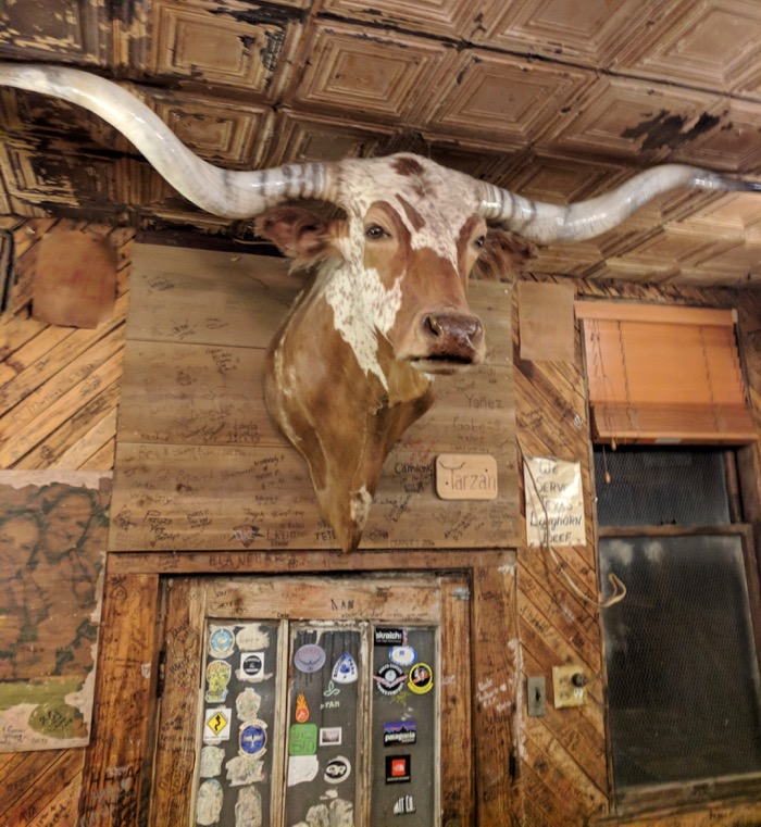 bull on wall at Meers Store