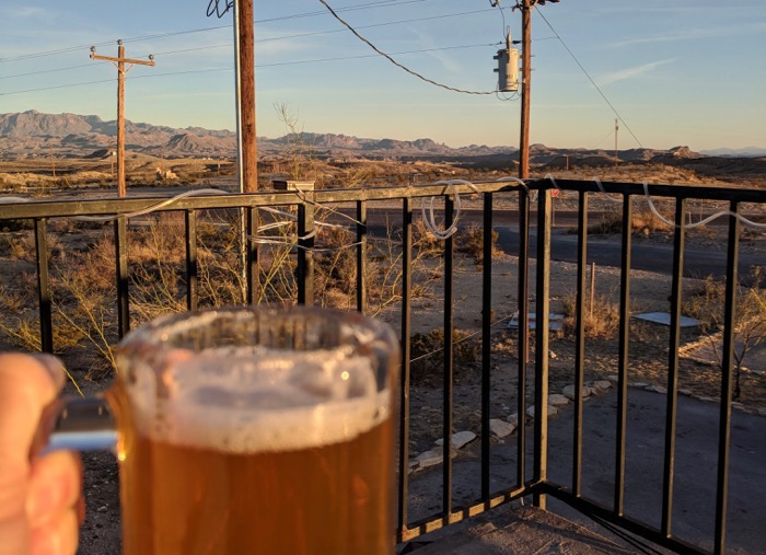 beer at High Sierra in Terlingua