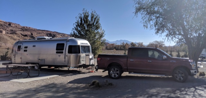 airstream and f150 at portal rv campground moab