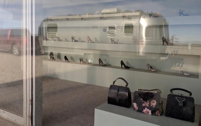 Prada Marfa with Airstream reflected