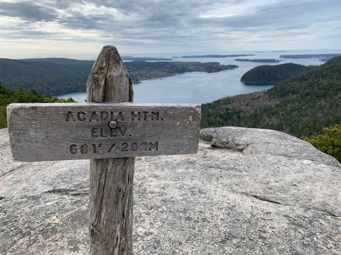 view from summit of acadia mountain