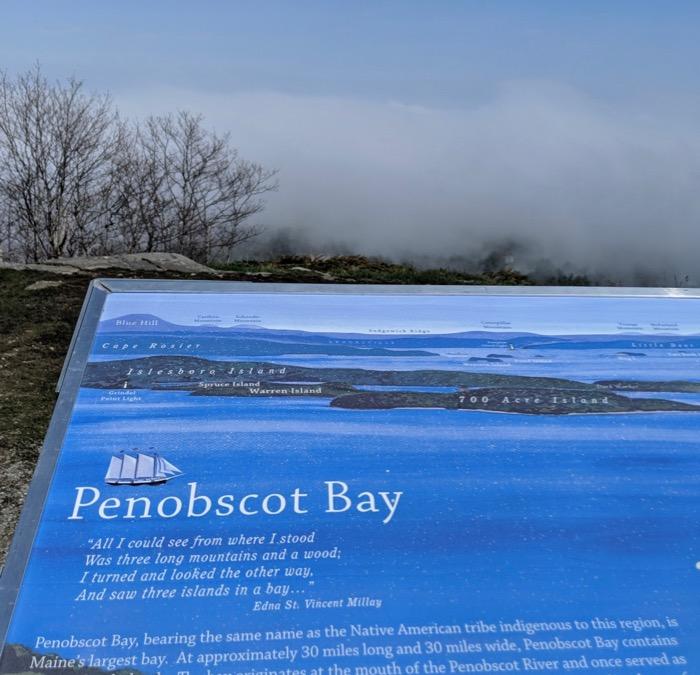 foggy view of Penobscot Bay from Mt Battie