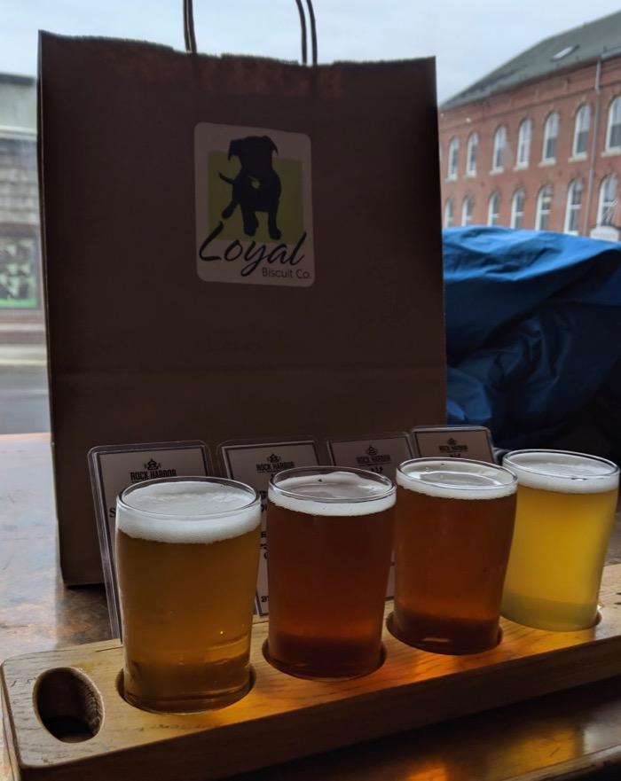 beer flight at Rock Harbor in Camden