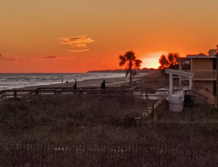 sunset over St George Island beach from Blue Parrot
