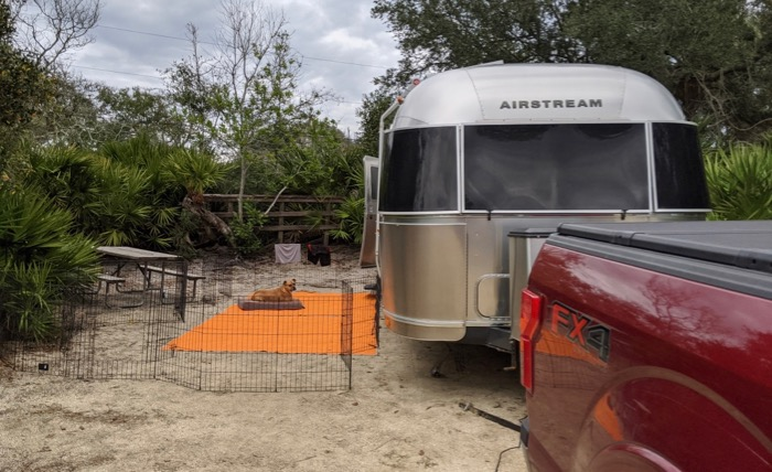 the airstream in our campsite at North Beach Camp Resort