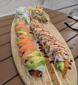 sushi surfboard at Neptune's
