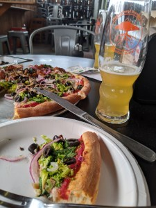 pizza and beer at higherground brewing