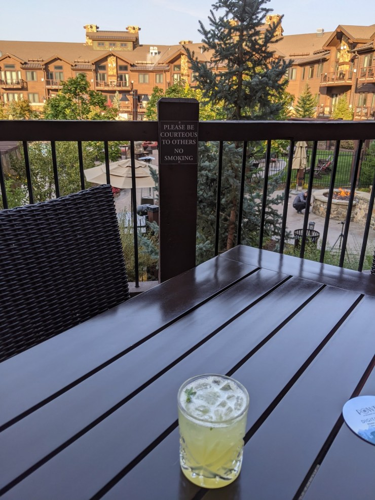 a cocktail on the deck at the Waldorf, Park City
