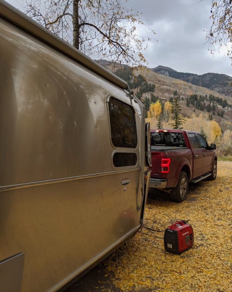 the Airstream at the Telluride campground