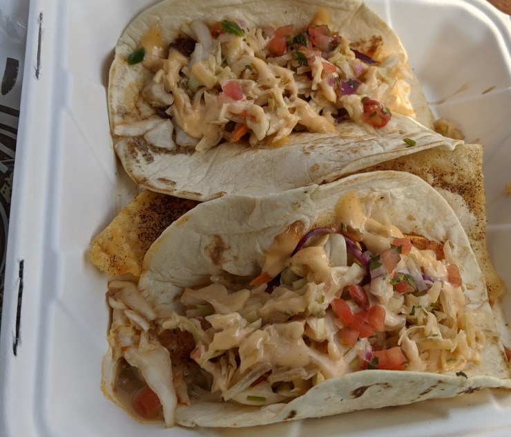 fish tacos from Loungin Lizard in Cortez