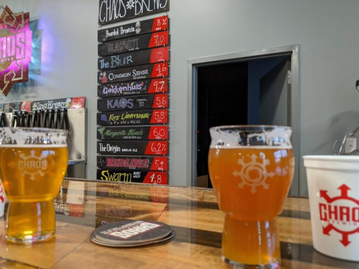 beers at Chaos Brewing