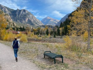 walking the riverfront trail from the campground to downtown Ouray