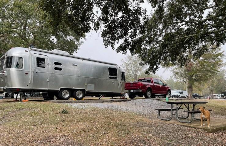 the Airstream at Davis Bayou Campground