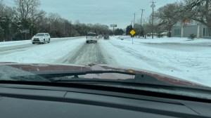 snowy roads in Austin