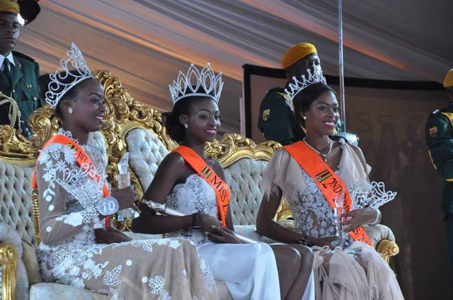 The Queen Emily Kachote [Centre] Was Crowned Miss Zimbabwe