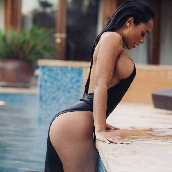 A shapely and sexy black girl with nice brown tan