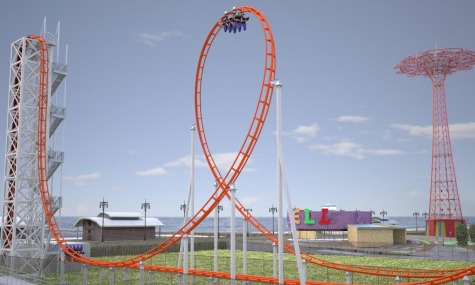 Vertikale Abfahrt, Looping & Co., alles im Schatten des Parachute Jump Turms.