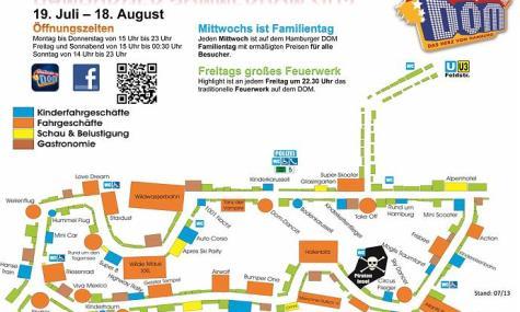 Der Lageplan des Sommer Dom 2013 bietet einen ersten Überblick über die Vielzahl der Fahrgeschäfte - Anklicken zum Vergrößern!