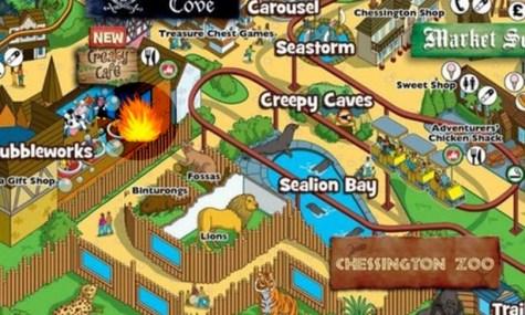 Der Ort des Brandes im Zoo des Parks