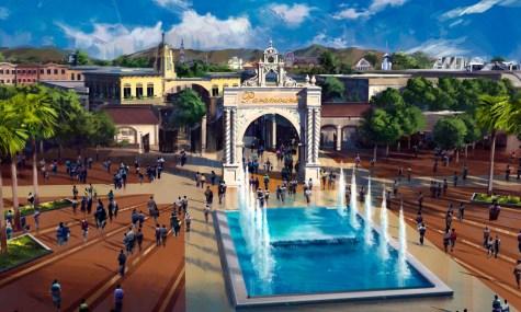 Durch das berühmte Paramount-Tor sollen die Gäste später in den Park gelangen - Anklicken zum Vergrößern!