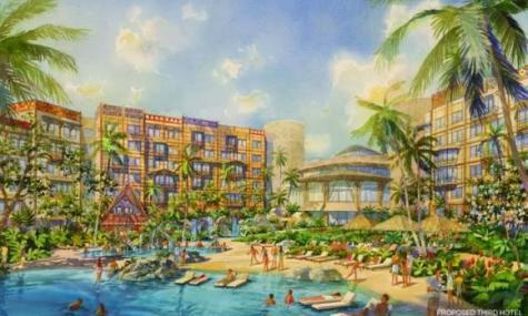 Artwork des Hotels mit Poollandschaft