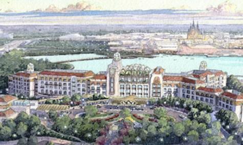 Blick auf die geplante Hotelanlage - im Hintergrund der eigentliche Park.