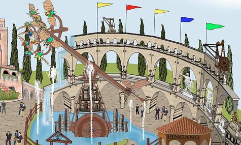 Über die neue Piazza da Vinci saust Leonardos Flugmaschine