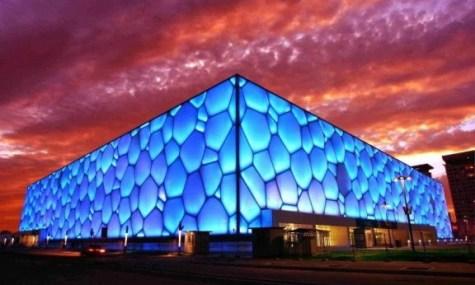 Die Fassade soll an Wasserblasen erinnern - Anklicken zum Vergrößern!