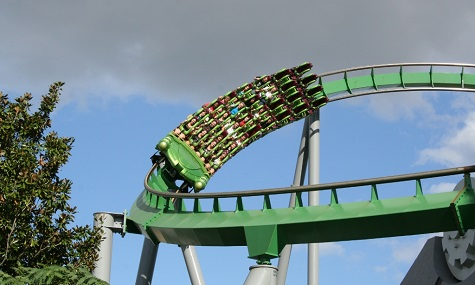 Der Incredible Hulk Coaster in Action