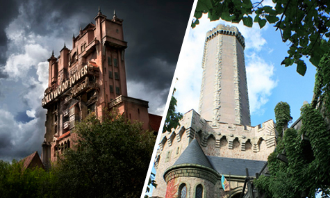 Links Disneys Tower of Terror und rechts die deutsche Version Mystery Castle
