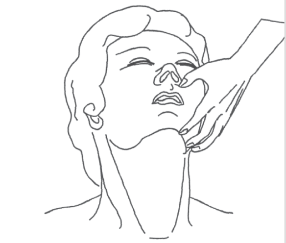 illustration showing that the first step to a applying a ventilation mask starts with opening the airway.
