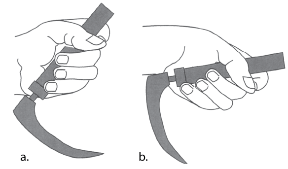 Illustration showing how to hold the laryngoscope handle in your left hand with the blade away from you.