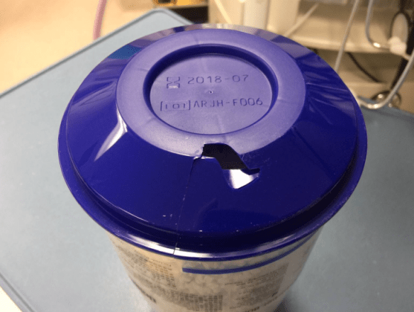 Close up of CO2 canister showing the impact hole at the bottom, where it was hidden from view during the emergency.