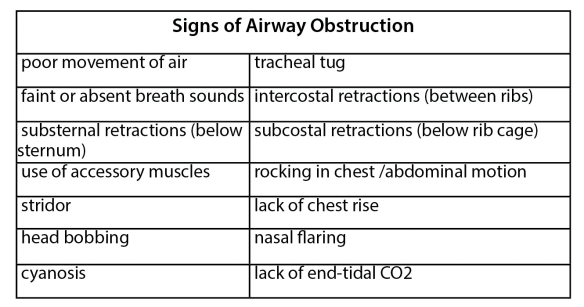 chart listing the signs of airway obstruction
