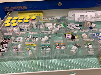 Example of a drug tray to highlight how following an anesthesia checklist can avoid complications