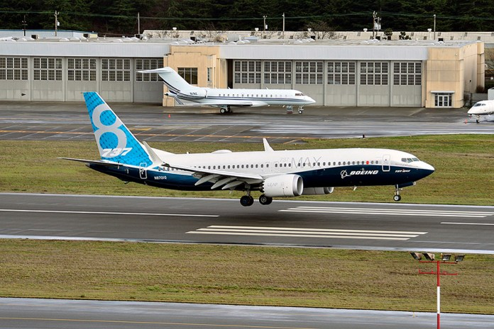 The 737 MAX 8 landing at Boeing Field after its First Flight. (Credits: Boeing)