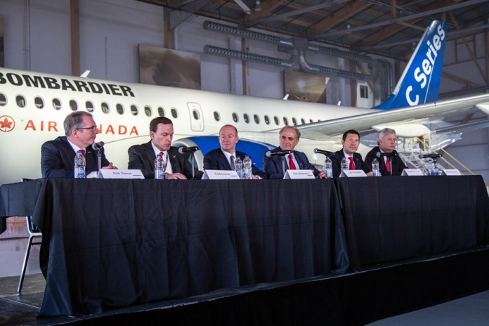 Air Canada and Bombardier executives at press conference in Montréal. (Credits: Bombardier)