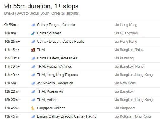 Flight from Dhaka to South Korea Information