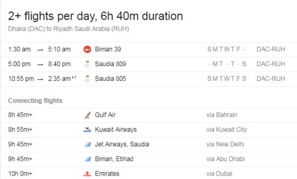 Dhaka to Saudi Arabia Flight Information