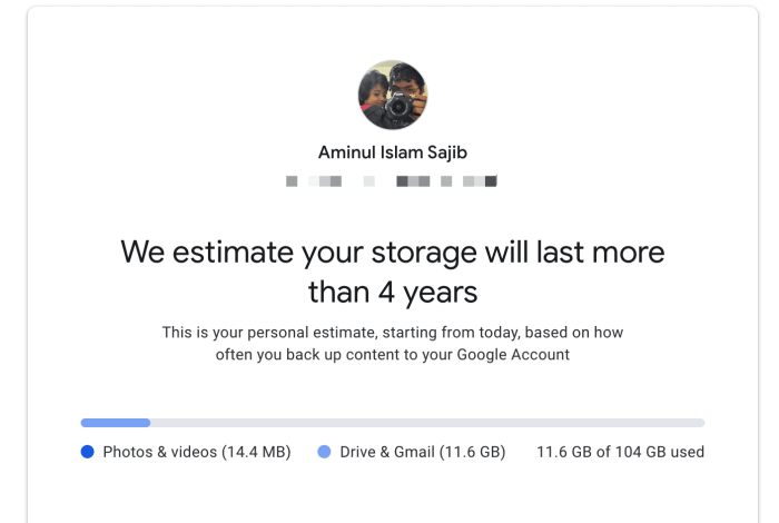 Google Photos estimating my storage will last about 4 years.