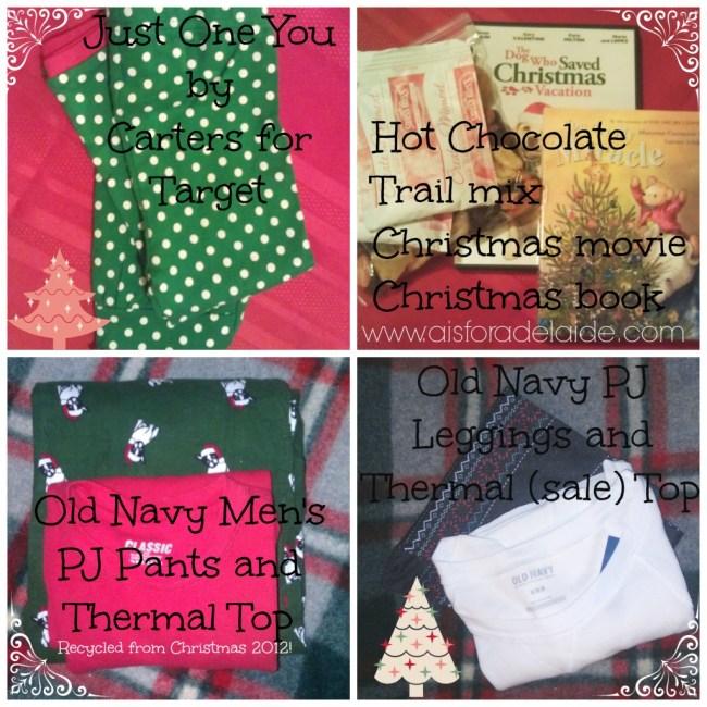 #Christmasevebox contents #aisforadelaide Christmas 2013
